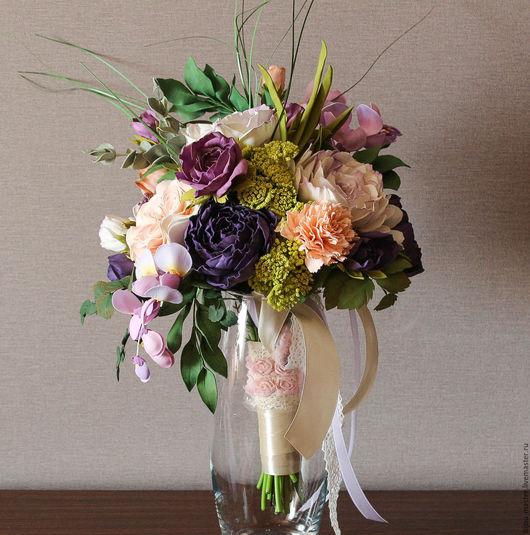 Свадебные цветы ручной работы. Ярмарка Мастеров - ручная работа. Купить свадебный букет ФЛЁР. Handmade. Бежевый, букет для невесты