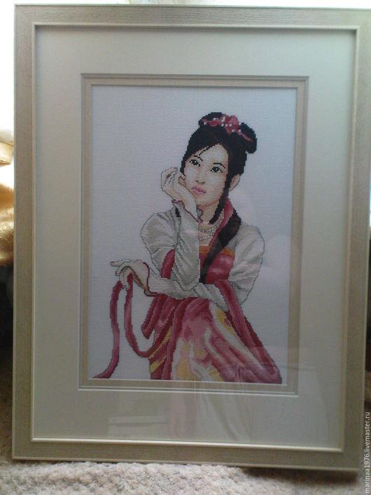 Люди, ручной работы. Ярмарка Мастеров - ручная работа. Купить японская девушка. Handmade. Кремовый, вышивка, девушка, багет
