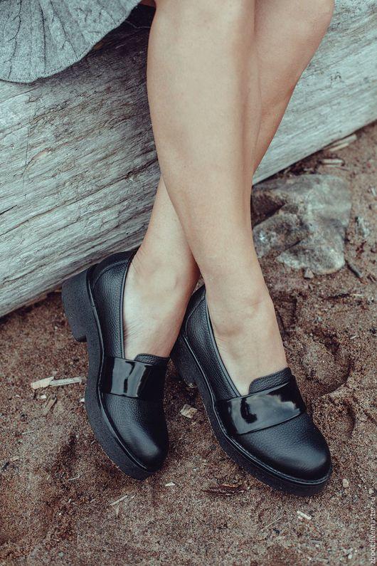 Обувь ручной работы. Ярмарка Мастеров - ручная работа. Купить Туфли-лоферы Tess. Handmade. Черный, обувь ручной работы
