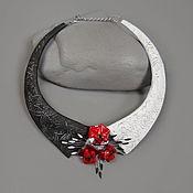 Украшения handmade. Livemaster - original item Necklace with red flowers ( polymer clay and glass). Handmade.