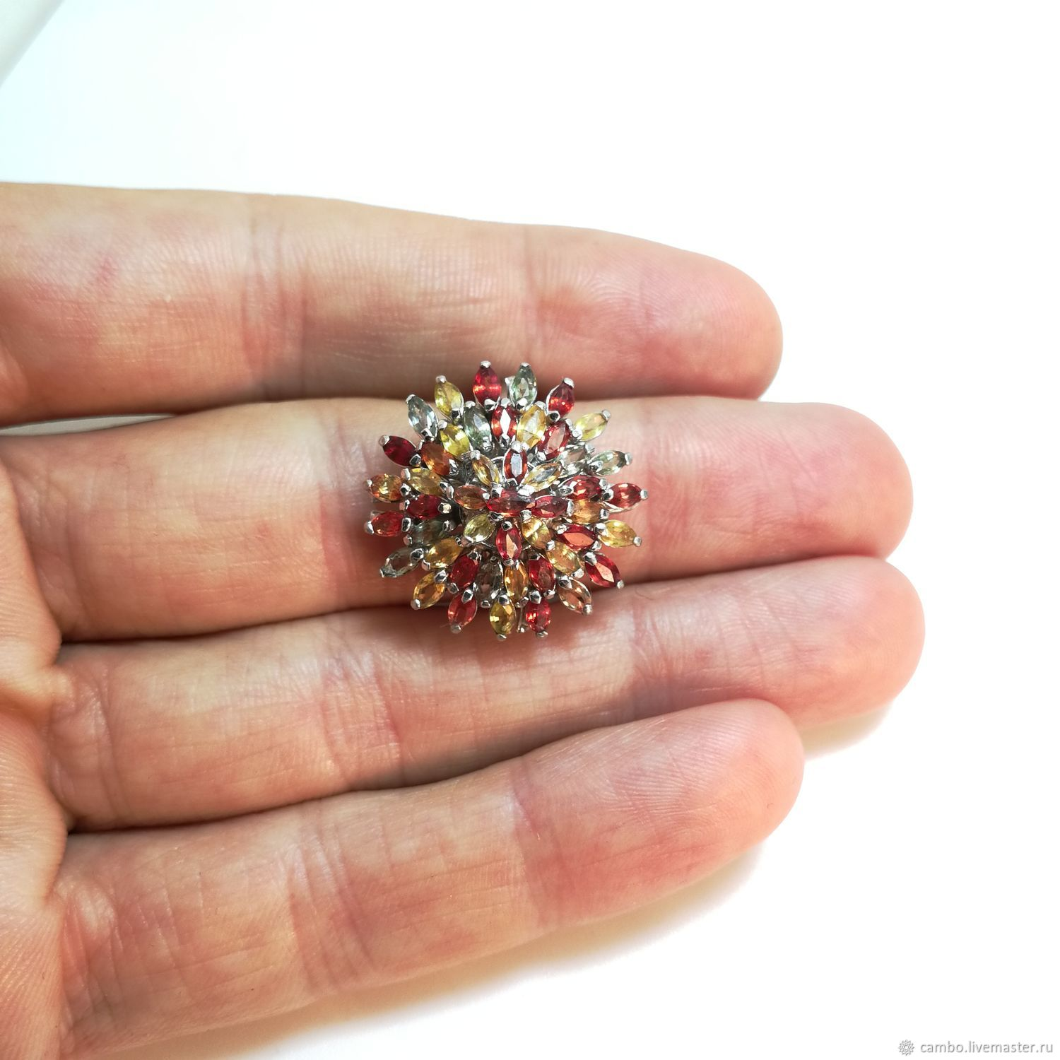 Ring: ' Big star ' silver, colored sapphires, Rings, Moscow,  Фото №1