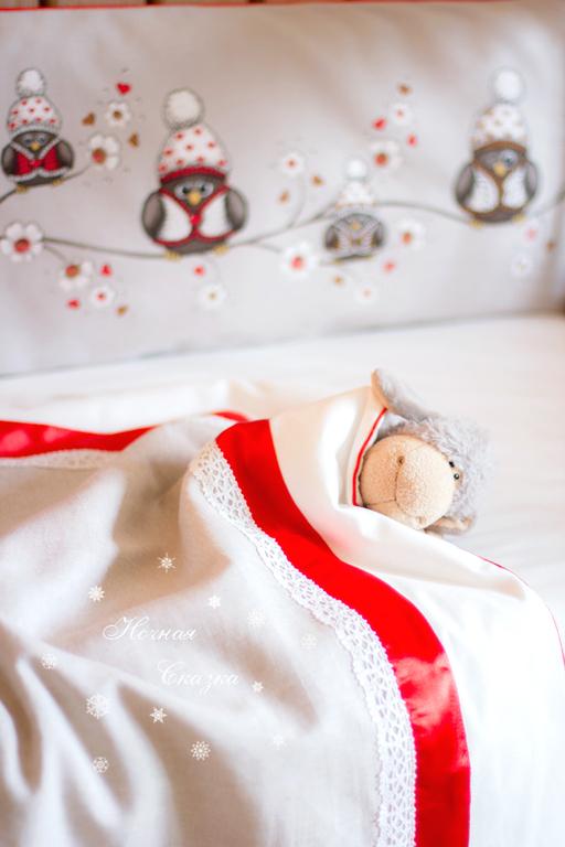 """Детская ручной работы. Ярмарка Мастеров - ручная работа. Купить """"Совушки"""" комплект в кроватку бампер одеяло простыня юбка (4 предмета). Handmade."""
