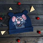 Аксессуары ручной работы. Ярмарка Мастеров - ручная работа Рататуй. Мышонок Рэми, шапочка с мышкой, детская шапка, мышь. Handmade.