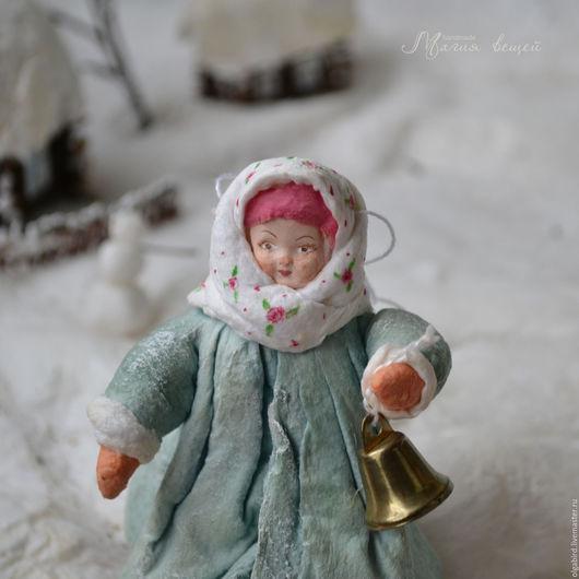 Новый год 2017 ручной работы. Ярмарка Мастеров - ручная работа. Купить Ватная елочная игрушка ДЕВОЧКА С КОЛОКОЛЬЧИКОМ. Handmade.