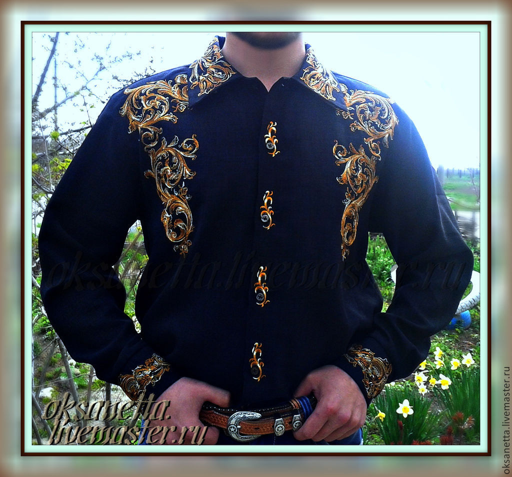 Shirt men's 'Motives of the middle ages', Mens shirts, Zaporozhye,  Фото №1