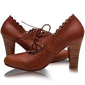 Обувь ручной работы handmade. Livemaster - original item Paradise Bird. Leather heels with cut out and scalloped wedges. Handmade.