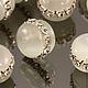 Бусины из искусственного камня кошачий глаз - кетсайт светло-серого цвета формы рондель диаметром 15 мм и высотой 12 мм с крупными стразами для использования в сборке украшений