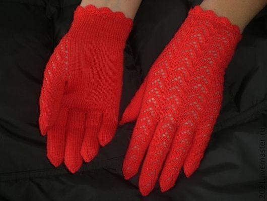 """ажурные перчатки """"Александрин"""", ярко-красные, весна, осень, выбор расцветок - по желанию.\r\nРабота Татьяны Адушевой"""