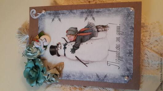 Открытки к Новому году ручной работы. Ярмарка Мастеров - ручная работа. Купить открытка новогодняя. Handmade. Голубой, открытка на все случаи