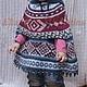 Одежда для девочек, ручной работы. Пончо Sapmi. Nerilka Екатерина. Интернет-магазин Ярмарка Мастеров. Орнамент, пончо спицами
