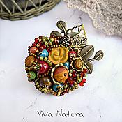 """Украшения handmade. Livemaster - original item Brooch """"Forest meadow"""" with stones and seed beads. Handmade."""