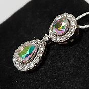 Украшения handmade. Livemaster - original item Silver pendant with quartz and cubic Zirconia. Handmade.