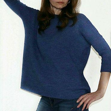 Одежда ручной работы. Ярмарка Мастеров - ручная работа Пуловер Оверсайз женский вязаный спицами. Handmade.
