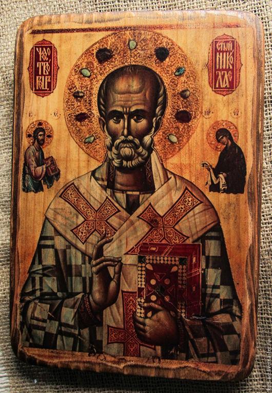 Икона Святой Николай на дереве ручной работы