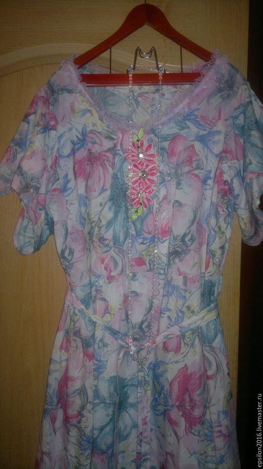 Летнее платье из натурального  штапеля.Для тех кто хочет быть нарядной.