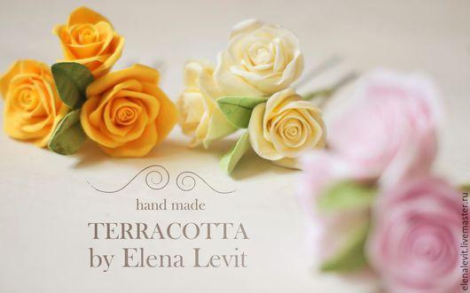 Розы из полимерной глины в прическу.Terracotta by Elena Levit.