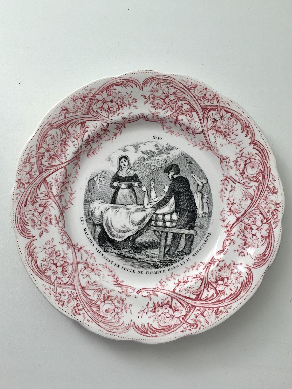 Винтажная посуда. Ярмарка Мастеров - ручная работа. Купить Винтаж: Антикварная тарелка живая вода. Конец 19 в. Handmade. Антиквариат