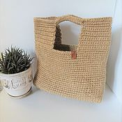 Сумки и аксессуары handmade. Livemaster - original item Tote: Jute bag with short handles. Handmade.
