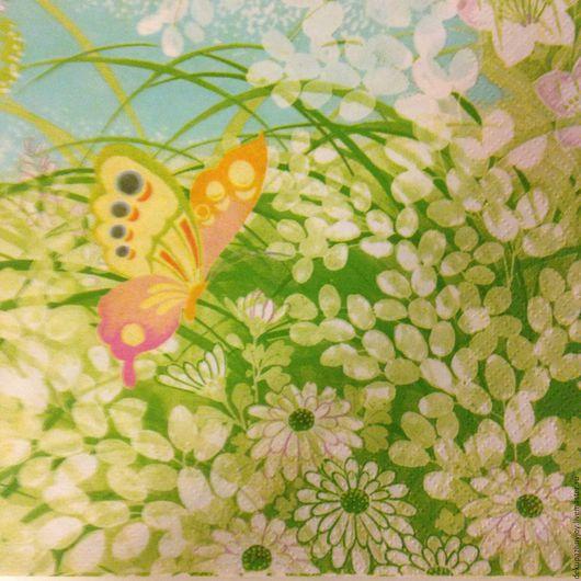Салфетка для декупажа - сама нежность: бабочка на летней поляне Декупажная радость