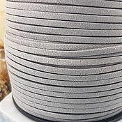 Материалы для творчества handmade. Livemaster - original item 1 m suede cord (isc.) 3 mm gray (4021). Handmade.