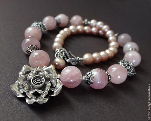 Колье, бусы ручной работы. Ярмарка Мастеров - ручная работа. Купить Колье В розовом саду, розовый кварц, жемчуг, серебро 925. Handmade.