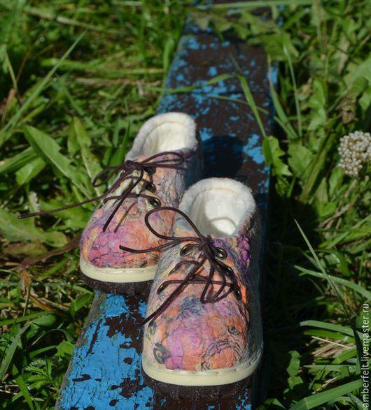 """Обувь ручной работы. Ярмарка Мастеров - ручная работа. Купить Кедики, детские, валяные """"Веселая прогулка"""". Handmade. Комбинированный"""