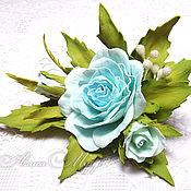 """Украшения ручной работы. Ярмарка Мастеров - ручная работа Брошь """"Голубые грезы"""" роза фоамиран брошка цветы. Handmade."""
