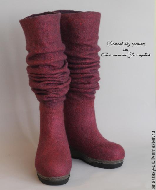 """Обувь ручной работы. Ярмарка Мастеров - ручная работа. Купить Сапожки валяные """"Лесные ягоды"""". Handmade. Бордовый, сапоги зимние"""