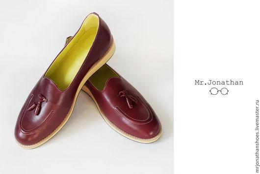 Обувь ручной работы. Ярмарка Мастеров - ручная работа. Купить Лоферы Mr.Jonathan. Handmade. Бордовый, мужская обувь, стиль