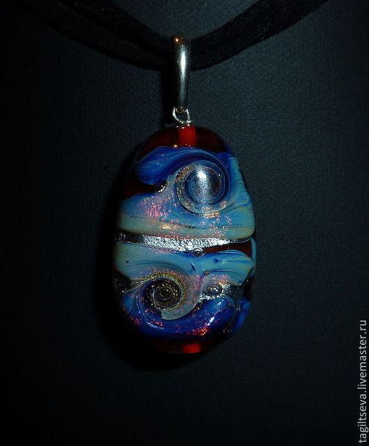 Кулон лэмпворк - Туманность Призрак Сатурна. (лэмпворк кулон. lampwork). Тагильцева Наталья