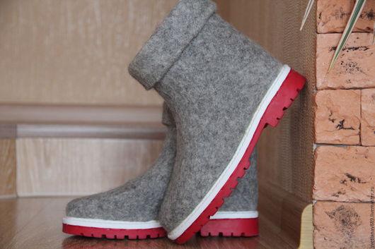 Обувь ручной работы. Ярмарка Мастеров - ручная работа. Купить Ботильоны валяные. Handmade. Серый, валенки на заказ, бергшаф