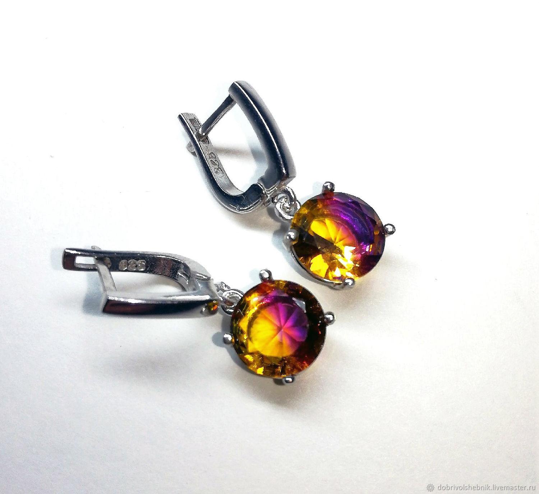 earrings: ' Purple sunset' with ametryn hydrothermal, Earrings, Novaya Usman,  Фото №1