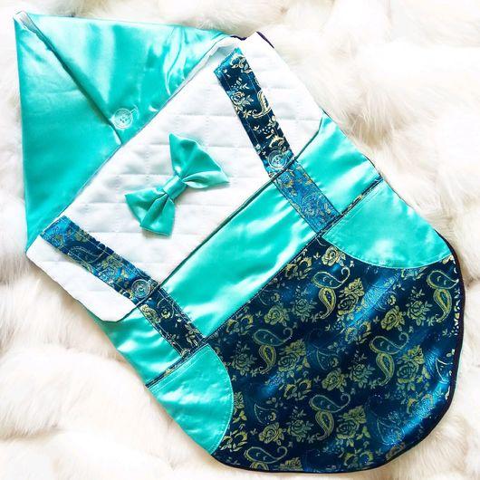 """Для новорожденных, ручной работы. Ярмарка Мастеров - ручная работа. Купить Конверт на выписку """"стиляга - 2"""". Handmade. Голубой"""