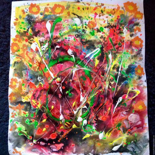 Абстракция ручной работы. Ярмарка Мастеров - ручная работа. Купить Позитивные эмоции. Смешанная техника.. Handmade. Ярко-красный