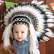 Аксессуары handmade. Livemaster - original item Indian children`s hat made of feathers. Indian children`s Christmas costume. Handmade.