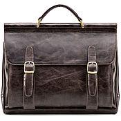 Сумки и аксессуары handmade. Livemaster - original item Leather briefcase Versailles (dark brown antique). Handmade.