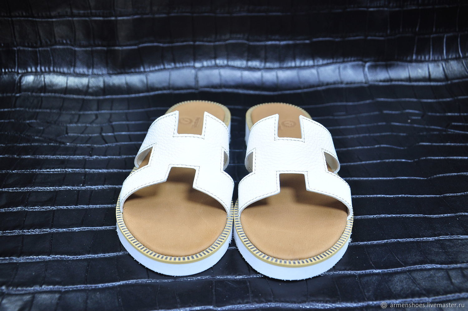 Women's Slippers made of genuine calfskin, in white color, Slippers, Tosno,  Фото №1