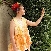 Одежда handmade. Livemaster - original item Nuno Felted Vest in Yellow. Felted Merino Wool Vest. Unique Ladies Ves. Handmade.