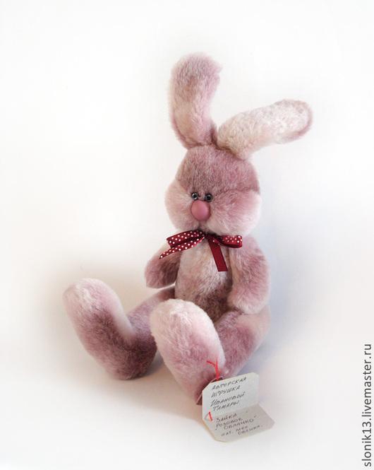Игрушки животные, ручной работы. Ярмарка Мастеров - ручная работа. Купить Игрушка из натурального меха заяц. Зайка Розовое облачко. Handmade.