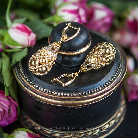 Серьги ручной работы. Ярмарка Мастеров - ручная работа. Купить «Gold Faberge» серьги из жемчуга Swarovski. Handmade. Комплект из жемчуга