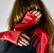 Аксессуары handmade. Livemaster - original item Red leather fingerless gloves short with zipper. Handmade.