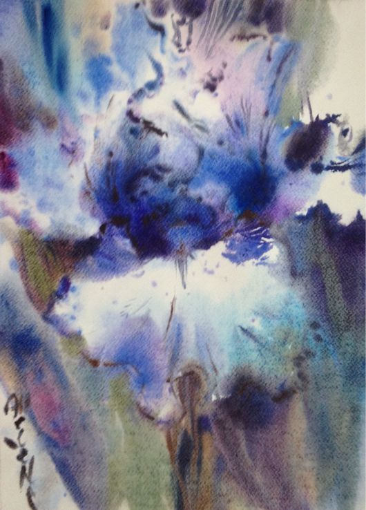 Картины цветов ручной работы. Ярмарка Мастеров - ручная работа. Купить Акварель Ирис. Handmade. Акварель, ирис, картина, нежный