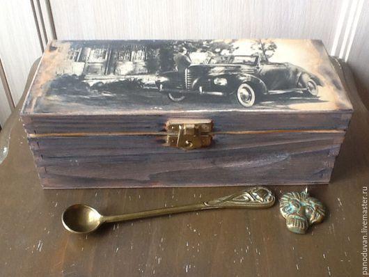 """Кухня ручной работы. Ярмарка Мастеров - ручная работа. Купить Короб, коробочка для чая"""" Встреча"""". Handmade. Коричневый, для чая"""