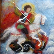 """Картины и панно ручной работы. Ярмарка Мастеров - ручная работа """"Георгий побеждающий дракона"""" картина из шерсти. Handmade."""