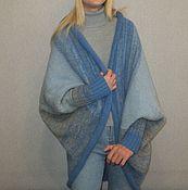 Кардиганы ручной работы. Ярмарка Мастеров - ручная работа Кардиган-кокон из 100% шерсти Blue-Grey. Handmade.