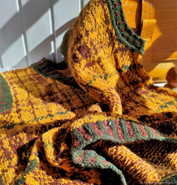Жилет из мериноса жаккардом в клетку горчичный шоколадный, Жилеты, Кострома,  Фото №1