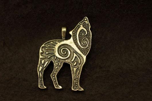 Волк, воющий волк кулон купить украшение волки бронза подвеска с волком кулон авторские украшения подарок для мужчины фэнтези волк художественное литье