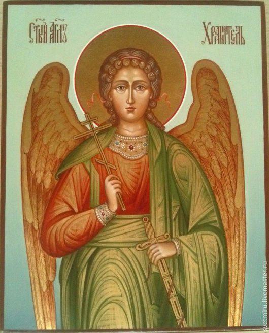 Иконы ручной работы. Ярмарка Мастеров - ручная работа. Купить Святой Ангел-Хранитель.Икона рукописная. Handmade. Голубой, икона