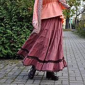 Одежда ручной работы. Ярмарка Мастеров - ручная работа Юбка льняная ярусная. Handmade.