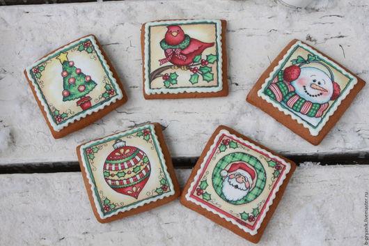 Новогодняя открытка Имбирный пряник ручной работы С Новым Годом. Пряник Елка, пряник Птичка, пряник Снеговик, пряник Дед Мороз, пряник Елочная игрушка.